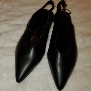 Black Pointed Toe Flats, Open Back